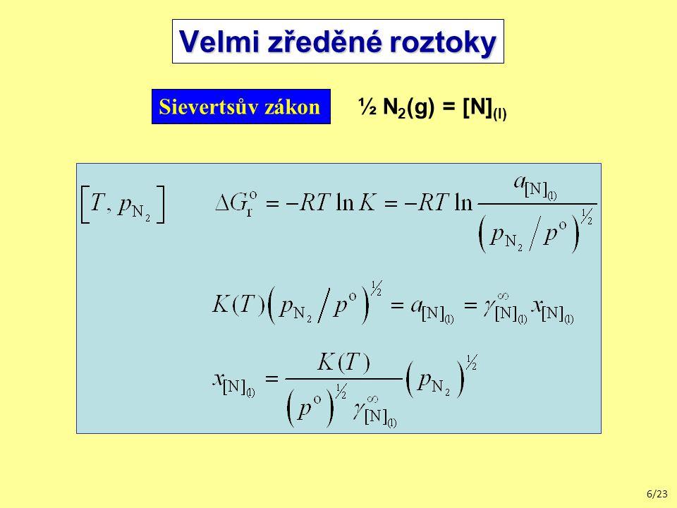 Velmi zředěné roztoky Sievertsův zákon ½ N2(g) = [N](l)